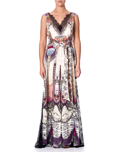 Printed Lace-Trim Jumpsuit with Godet Insets