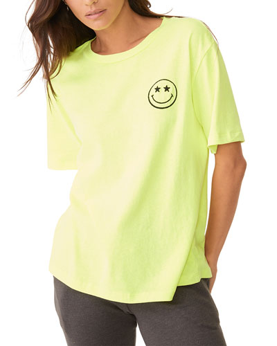 Oversized Crewneck Tee with Embroidered Smiley Face