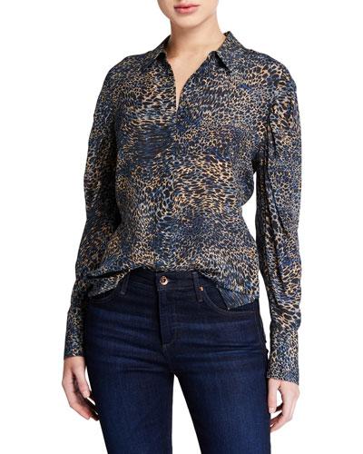 Ori Animal-Print Button-Down Long-Sleeve Silk Blouse