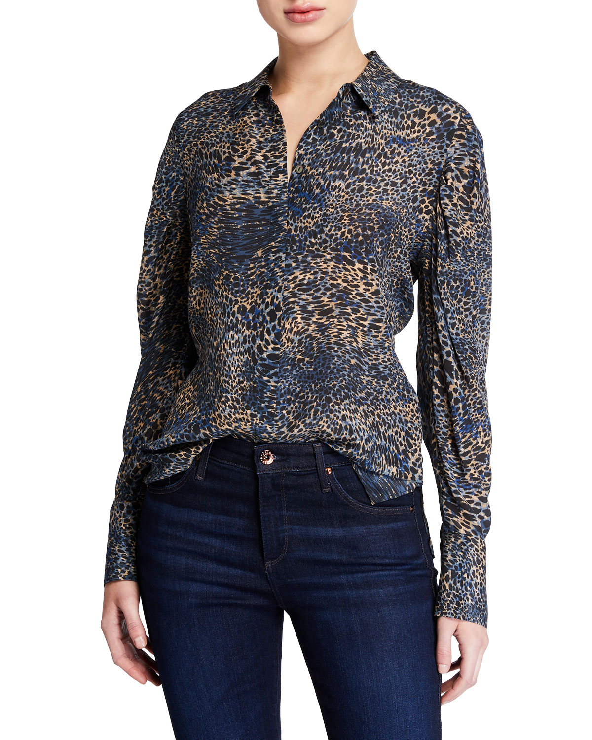 Kobi Halperin Tops ORI ANIMAL-PRINT BUTTON-DOWN LONG-SLEEVE SILK BLOUSE