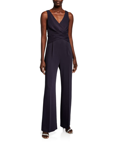 Sheila V-Neck Sleeveless Draped-Bodice Jumpsuit