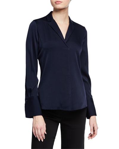 Rebekah Long-Sleeve Silk Blouse