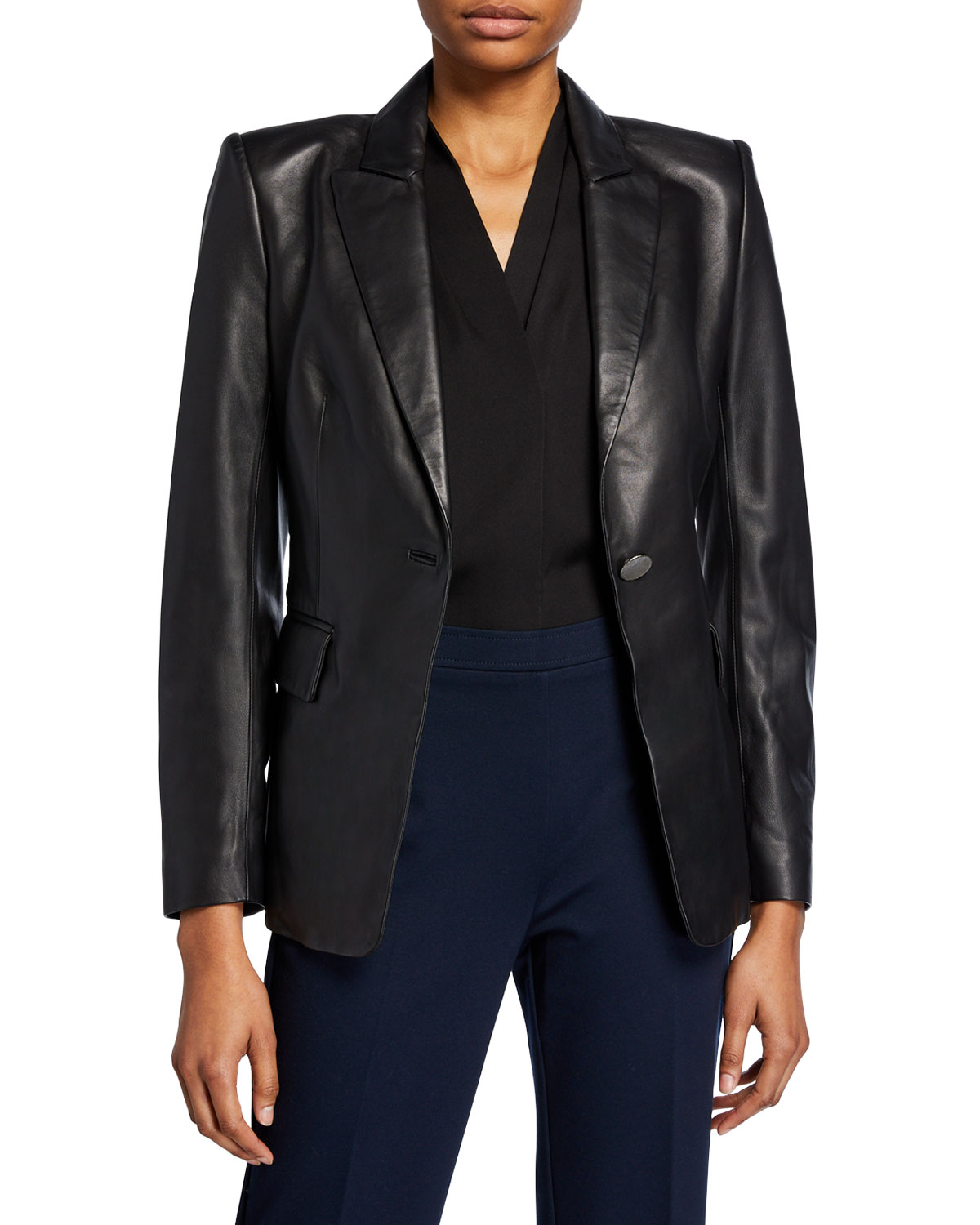 Kobi Halperin Jackets AVERY ONE-BUTTON LEATHER JACKET