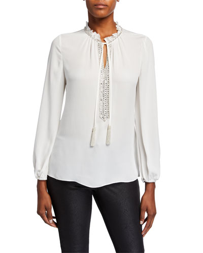 Paula Long-Sleeve Beaded Tassel-Tie Silk Blouse
