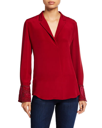 Maxima V-Neck Long-Sleeve Silk Blouse w/ Notch Collar
