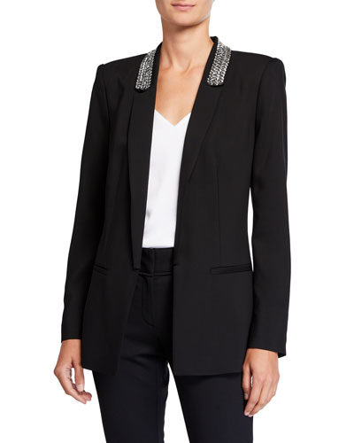 Carson Embellished Shawl-Collar Jacket