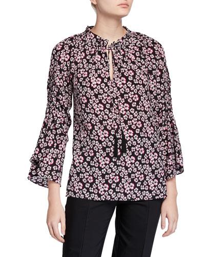 Larsen Floral Tassel-Tie Silk Blouse