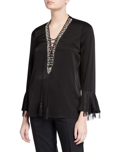 Melinda Lace-Up Long-Sleeve Fringe-Trim Silk Blouse