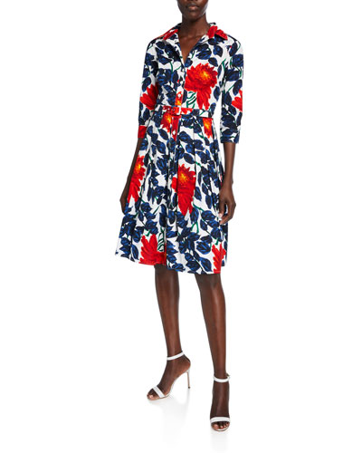 Audrey 1 Picasso Flower 3/4-Sleeve Stretch Cotton Dress