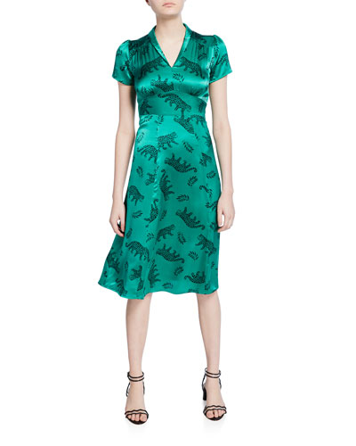 Morgan V-Neck Leopard Silk Dress