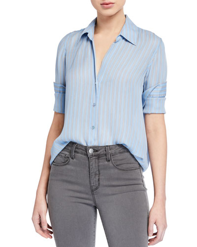 Nina Striped Long-Sleeve Button-Down Silk Blouse