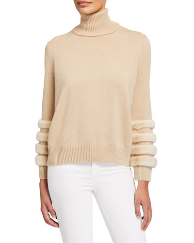 Cashmere Turtleneck Sweater with Mink