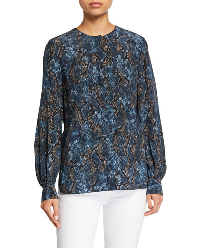 Jenalee Sophisticated Snake-Print Long-Sleeve Silk Blouse