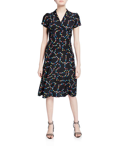 Morgan 40s V-Neck Heart Silk Dress