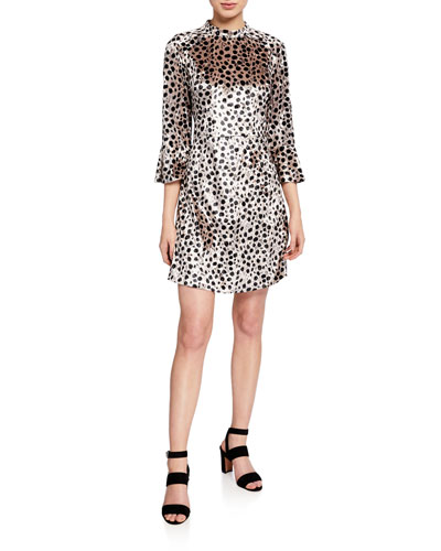 Ashley Leopard-Print Bell-Sleeve Silk Dress