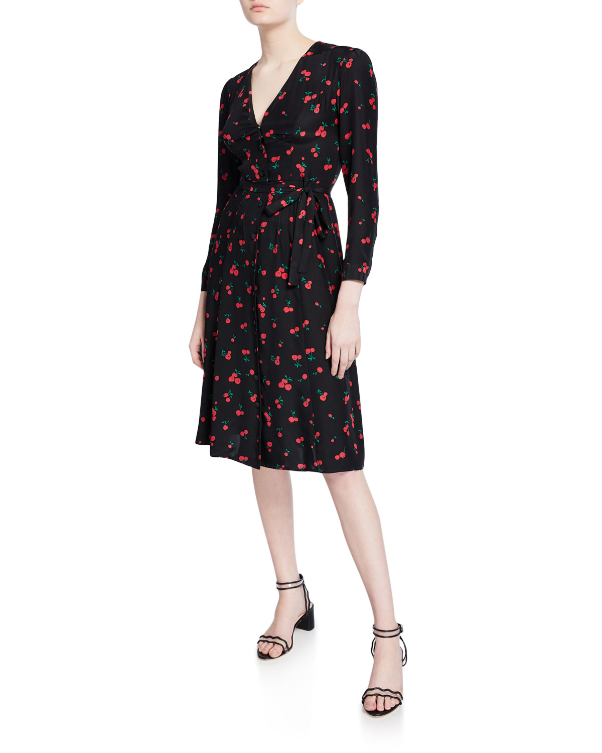 Hvn Dresses LAUREN CHERRY-PRINT SILK DRESS