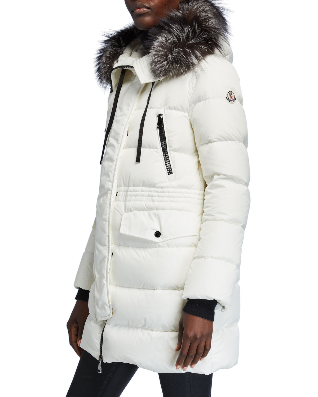 Moncler Coats APHROTI DETACHABLE FUR-TRIM HOODED PUFFER COAT