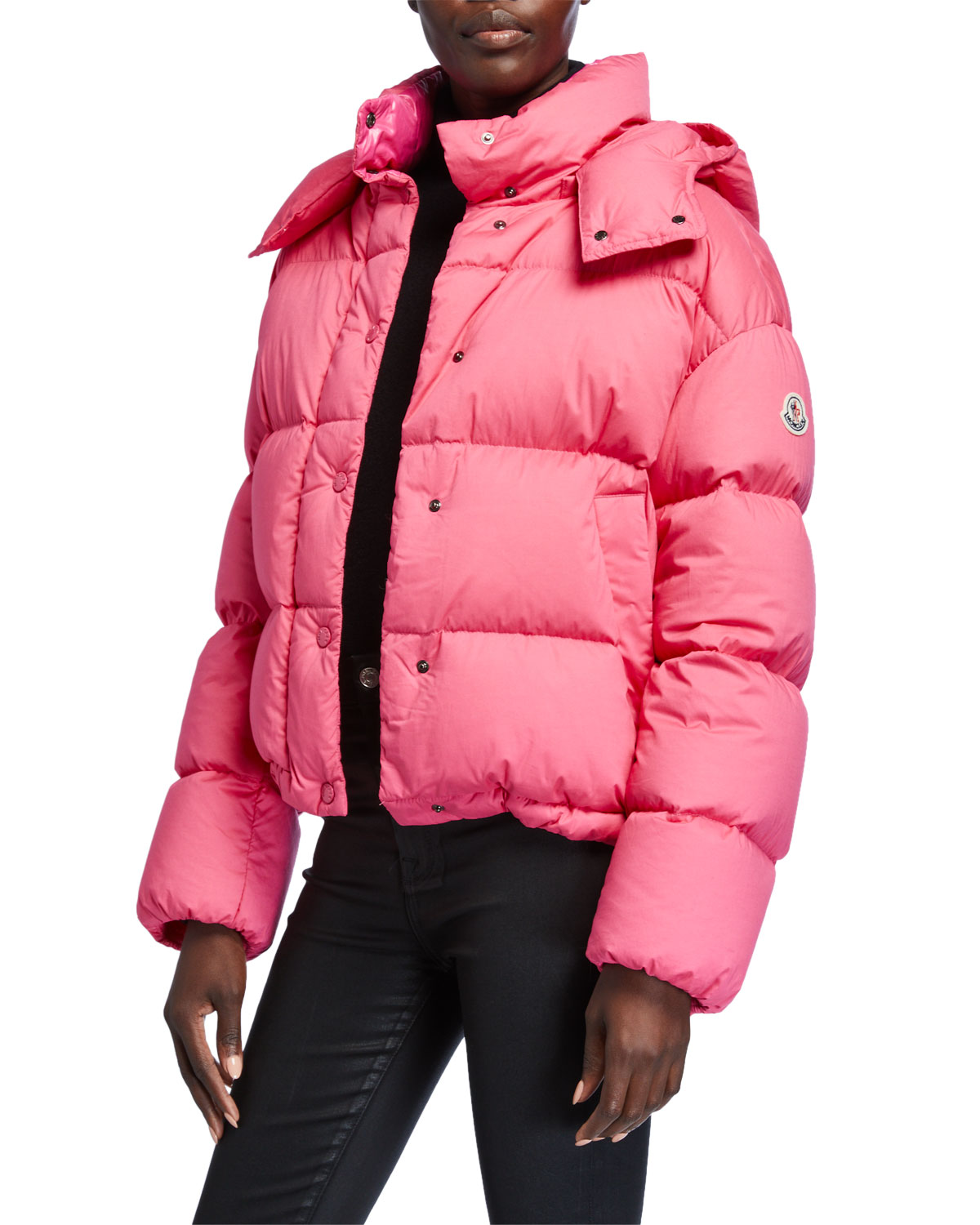 Moncler Jackets ONIA CROPPED PUFFER JACKET W/ DETACHABLE HOOD
