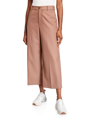 Wide-Leg Virgin Wool Cropped Pants