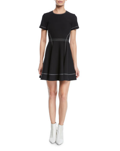 Bryce Short-Sleeve Fit-and-Flare Mini Dress