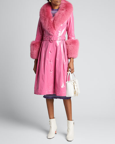 Foxy Gloss Lamb Leather Fox Fur-Trim Coat