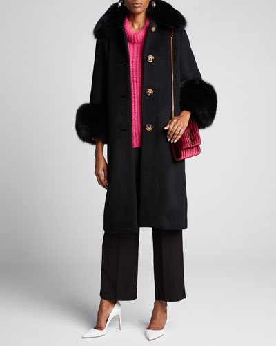 Yvonne Fox Fur-Trim Wool Coat, Black