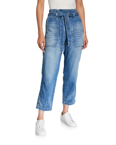 Belted Straight-Leg Paperbag Cropped Jeans