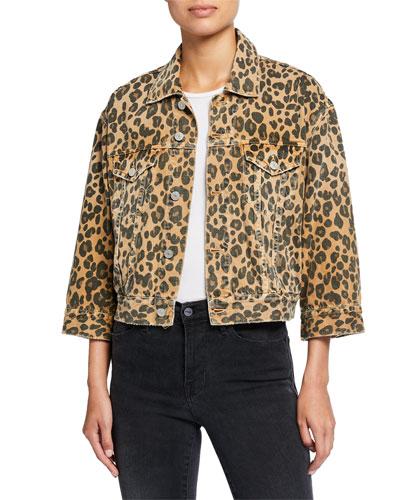 Lulu Cropped Leopard-Print Jacket