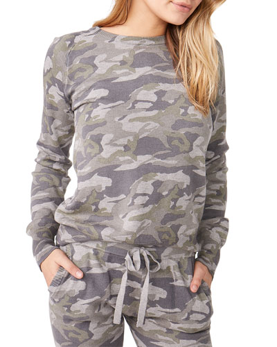Camo Raglan-Sleeve Sweater