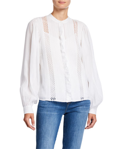 Long-Sleeve Pintucked Blouse with Lace Insets