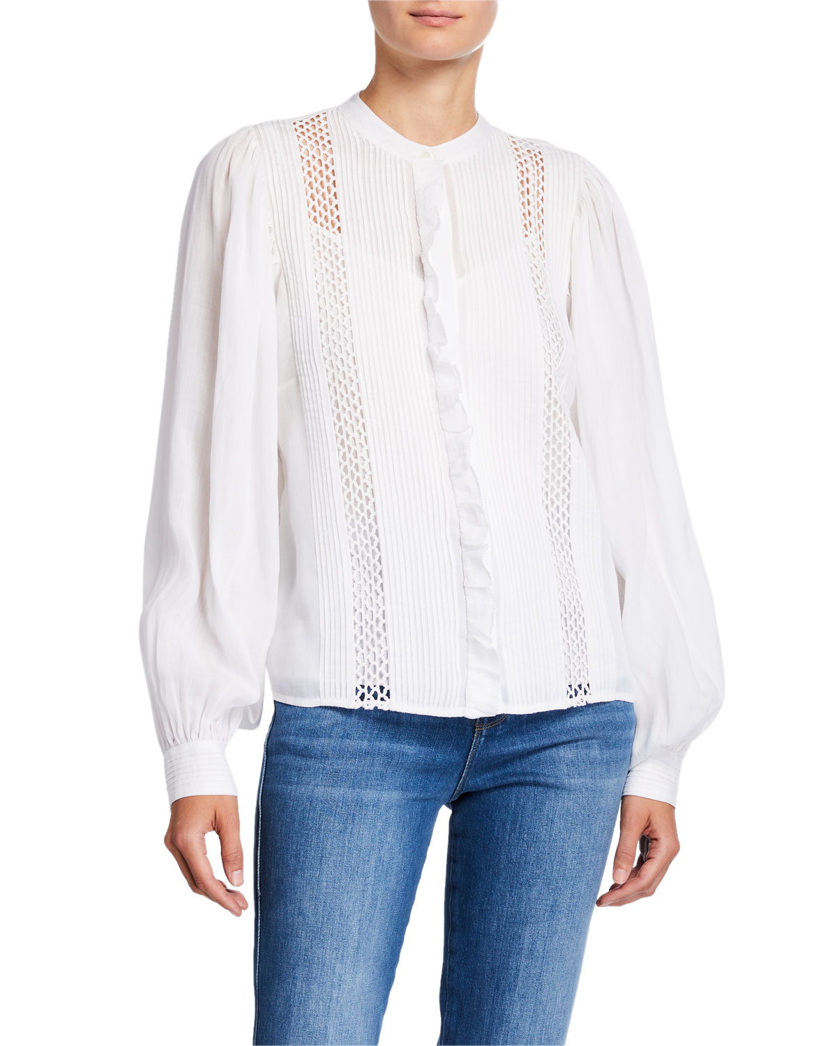 Frame Tops LONG-SLEEVE PINTUCKED BLOUSE WITH LACE INSETS