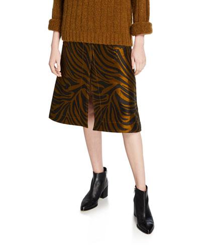 Zebra-Print Belted Topstitch Skirt