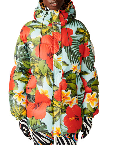 Richard Quinn Mary Floral Puffer Jacket w/ Hood