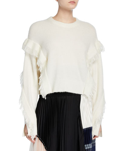 Cropped Fringe-Sleeve Alpaca Sweater