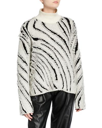 Zebra Fringe Turtleneck Sweater