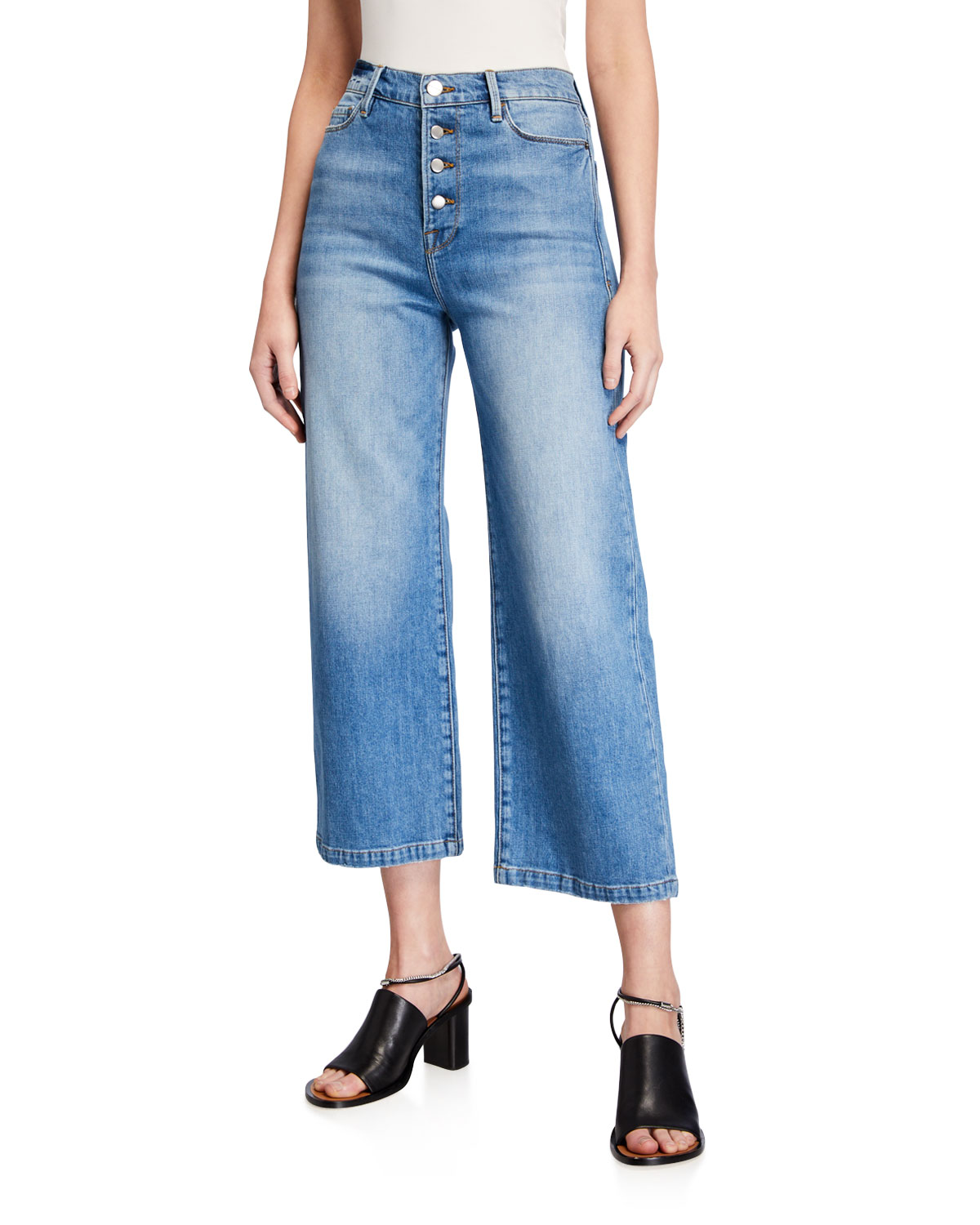 Frame Jeans ALI WIDE-LEG CROP JEANS WITH EXPOSED BUTTONS