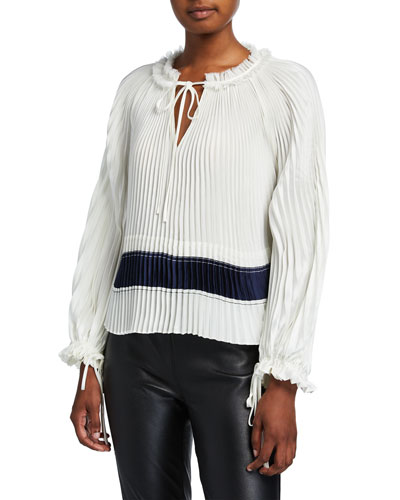 Pleated V-Neck Long-Sleeve Blouse