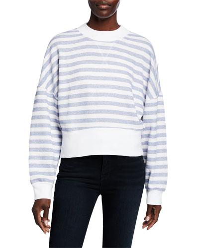 Drop-Shoulder Striped Crewneck Pullover Top