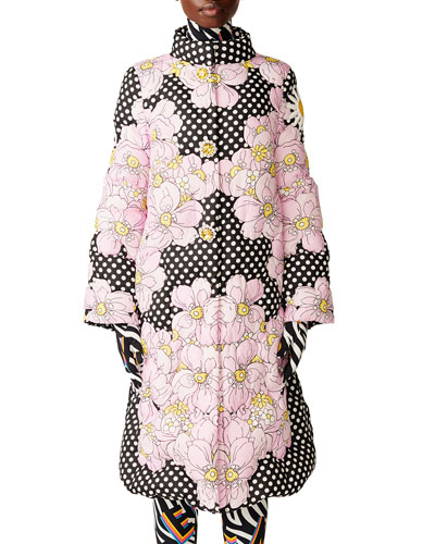 Richard Quinn Ines A-Line Floral & Dot Coat