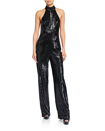 Shelby Sequin Halter Jumpsuit