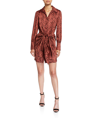 Gaby Tie-Front Snake-Print Shirt Dress