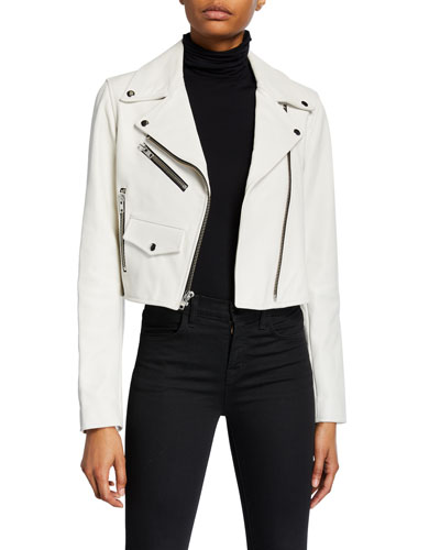 Beck Cropped Leather Moto Jacket