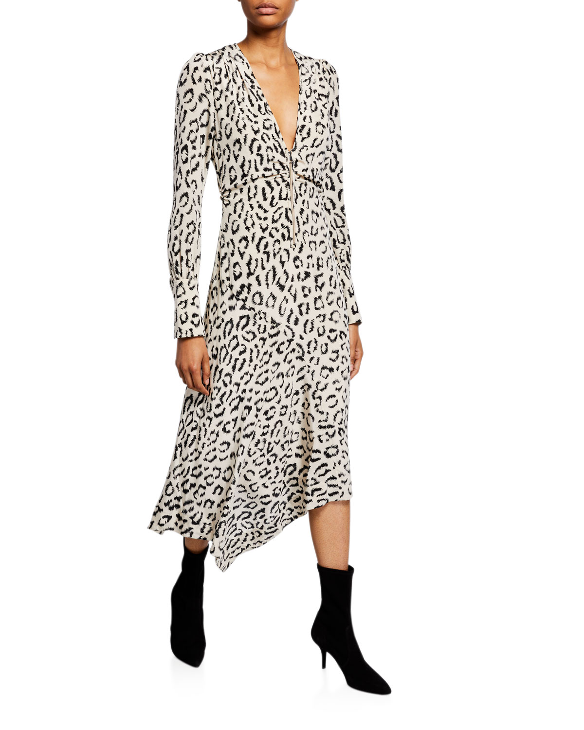 A.l.c Dresses EDEN PRINTED LONG-SLEEVE ZIP-FRONT DRESS