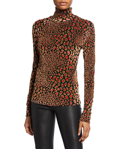 Delphine Metallic Animal-Print Turtleneck Sweater