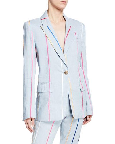 Striped Single-Button Blazer