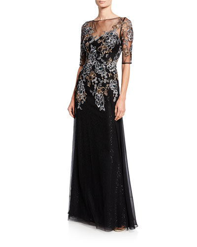 Metallic Floral Embroidered Elbow-Sleeve Overlay Gown
