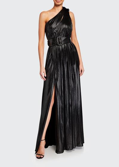 Andrea One-Shoulder Belted Lame Maxi Dress