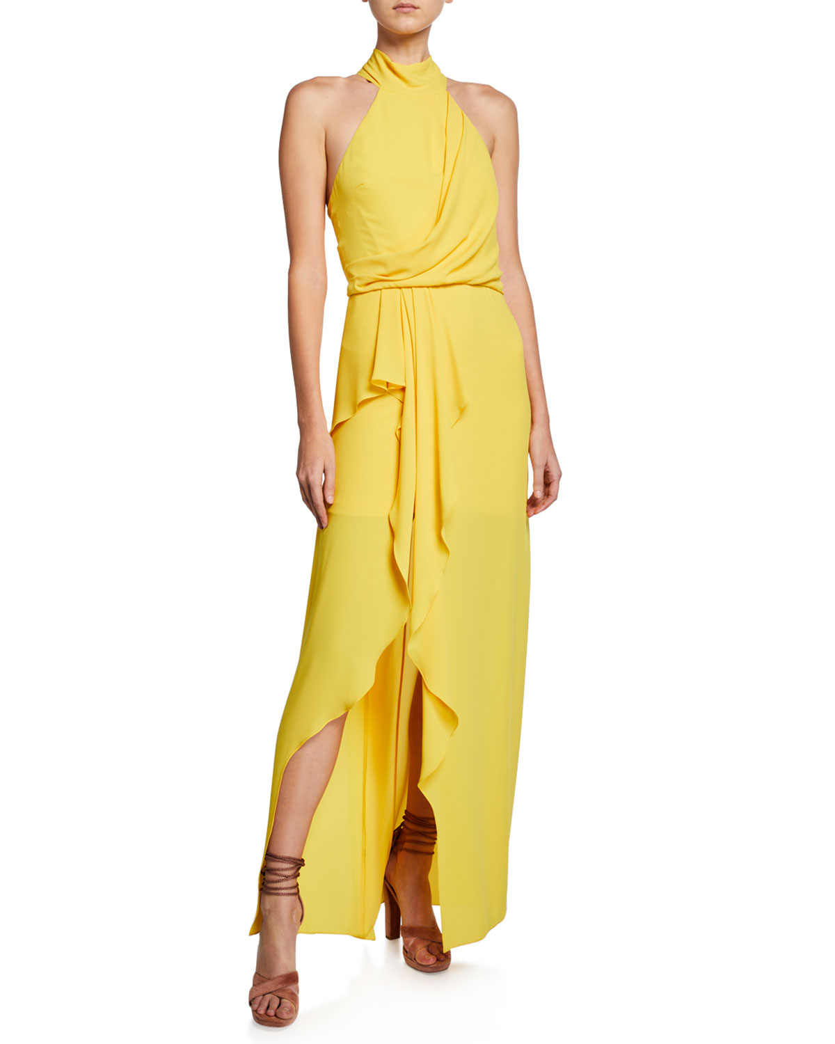 Halston Heritage Tops MOCK-NECK HALTER GOWN WITH DRAPED FRONT DETAIL
