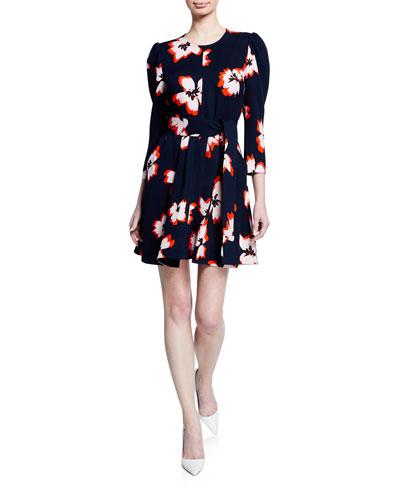 Stella Floral Silk 3/4-Sleeve Short Dress