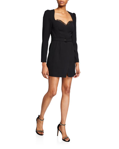 Belted Crepe Sweetheart Mini Dress